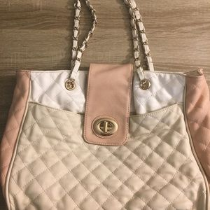 Quilted pink and white tote